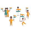 indian people holding and waving indian flag set vector image