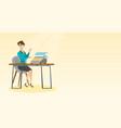 journalist working on retro typewriter vector image vector image