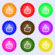 Like icon sign A set of nine different colored vector image