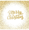 Merry Christmas gold glitter lettering with frame vector image vector image