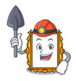 miner picture frame mascot cartoon vector image