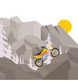 motorcycle journey through mountain climbing and vector image