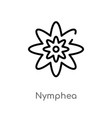 outline nymphea icon isolated black simple line vector image vector image