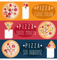 pizza with different tastes flat design horizontal vector image vector image