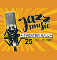 poster on the theme of jazz music with microphone vector image vector image