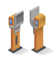 realistic modern parking meter front and back view vector image vector image
