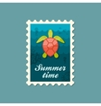 Sea turtle stamp Summer Vacation vector image vector image