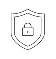 security shield with lock outline icon linear vector image vector image