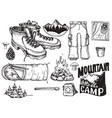 set highly detailed hand drawn camping vector image vector image