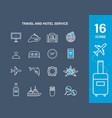 set icons of travel and hotel service vector image