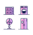 set of icons with home appliances gas or electric vector image vector image