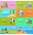 set of people on vacation flat web banners vector image vector image