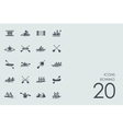 Set of rowing icons vector image