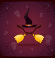 silhouette witch broomstirck and hat happy vector image vector image