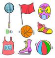 sport equipment object of doodles vector image vector image