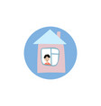 stay at home icon a young man is in his house vector image