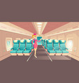 stewardess in airplane cabin interior vector image