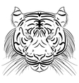 stylized face of ink sketch tiger vector image vector image