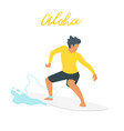 surfer silhouette with wave vector image vector image