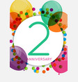 template 2 years anniversary congratulations vector image vector image
