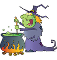 Ugly Halloween Witch Preparing A Potion vector image vector image