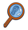 virus under magnify glass icon hand drawn style vector image