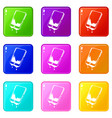 water smartphone icons set 9 color collection vector image vector image