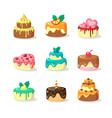 whole cakes with frosting and fruit flat vector image vector image