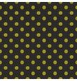 Tile pattern green polka dots on black background vector image