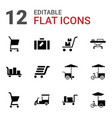 12 trolley icons vector image vector image