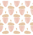 acorn plant seamless pattern in light pink vector image vector image