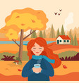 autumn girl with coffee cup landscape rural view vector image vector image