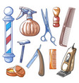 barbershop tools set hand drawn vector image vector image