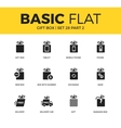 basic set gift box icons vector image