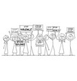 cartoon drawing of group of people demonstrating vector image vector image