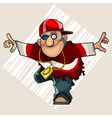 cartoon man standing in a pose swallow vector image vector image