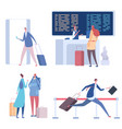 cartoon people in airport flat vector image vector image