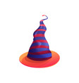 cartoon witch hat with red and purple stripes icon vector image