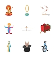 Chapiteau icons set cartoon style vector image vector image