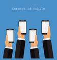 concept of mobile app in flat design on violet vector image vector image