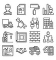 contractor and construction icons set on white vector image vector image