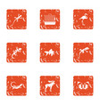 creature icons set grunge style vector image vector image
