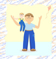 Dad holding his son in his arms and rejoice vector image