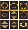 Decorative Golden Ornate Quad Frames vector image vector image