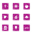 eco part icons set grunge style vector image vector image