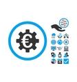 Euro Machinery Flat Icon With Bonus vector image vector image