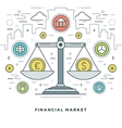 Flat line Financial Market Concept vector image vector image
