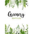 floral greenery vertical card design forest fern vector image vector image