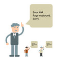 funny 404 error symbol with cute character of vector image