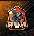 gorilla gunners esport mascot logo design vector image vector image